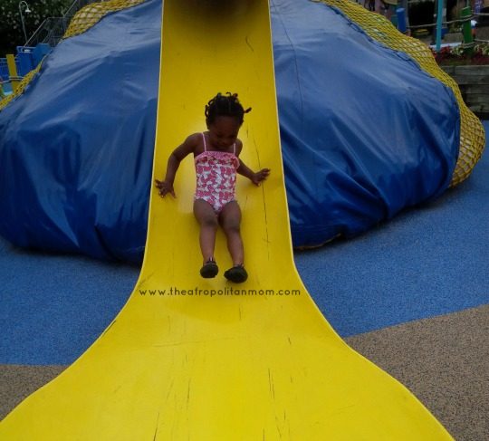 sliding down a slide at sesame place