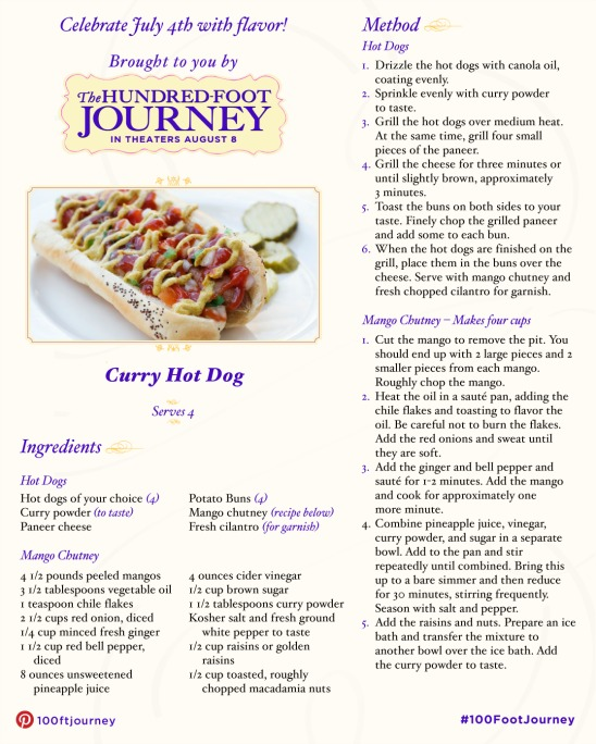 curry hot dog recipe - the hundred foot journey