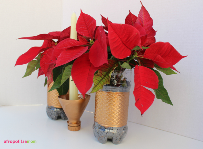 Recycled Water-bottle Planter - Upcycled Plastic Bottle Candle Holder
