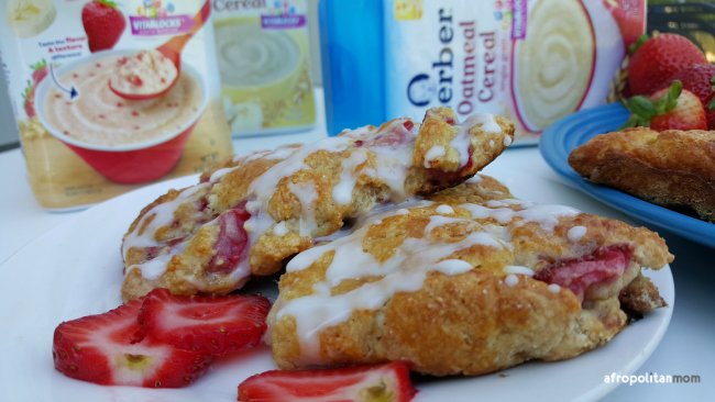 Strawberry Oat Scones recipe using baby cereal