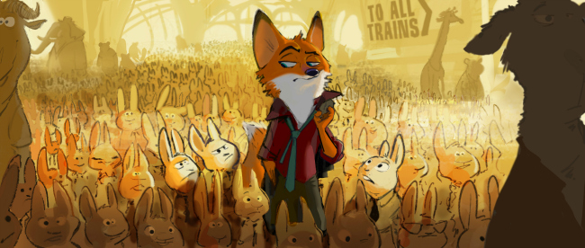 "A fast-talking fox is framed for a crime he didn't commit in Walt Disney Animation Studios' ""Zootopia"" (working title)—in theaters in 2016. ©2013 Disney. All Rights Reserved."