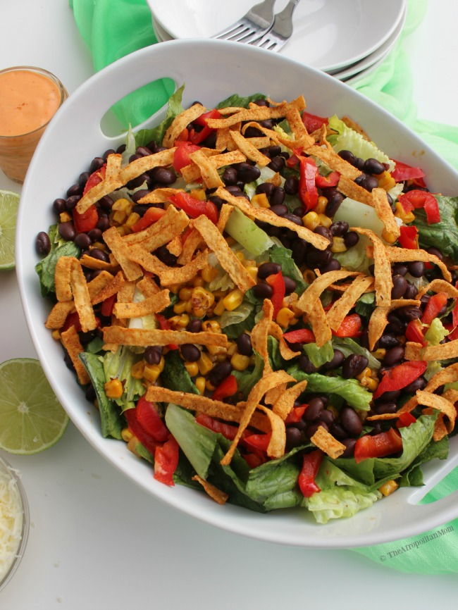 Vegetarian Tostada Salad with Creamy Chipotle Dressing