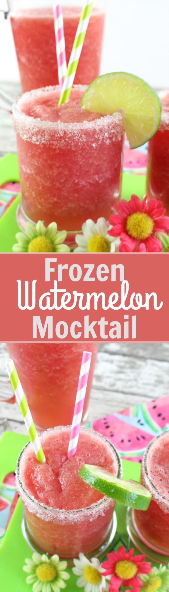 Frozen Watermelon Mocktail - Fresh watermelon, frozen limeade, and sugar comes together to make a refreshing and vibrant summer drink!