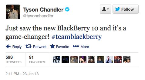 Tyson Chandler tweets about Blackberry Z10