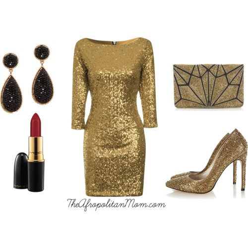 gold rush holiday party outfit idea