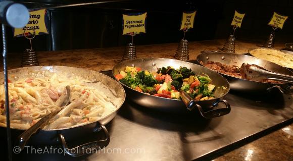 Shrimp Pesto Pasta - Seasoned Veggies at Goofy's Kitchen Disneyland