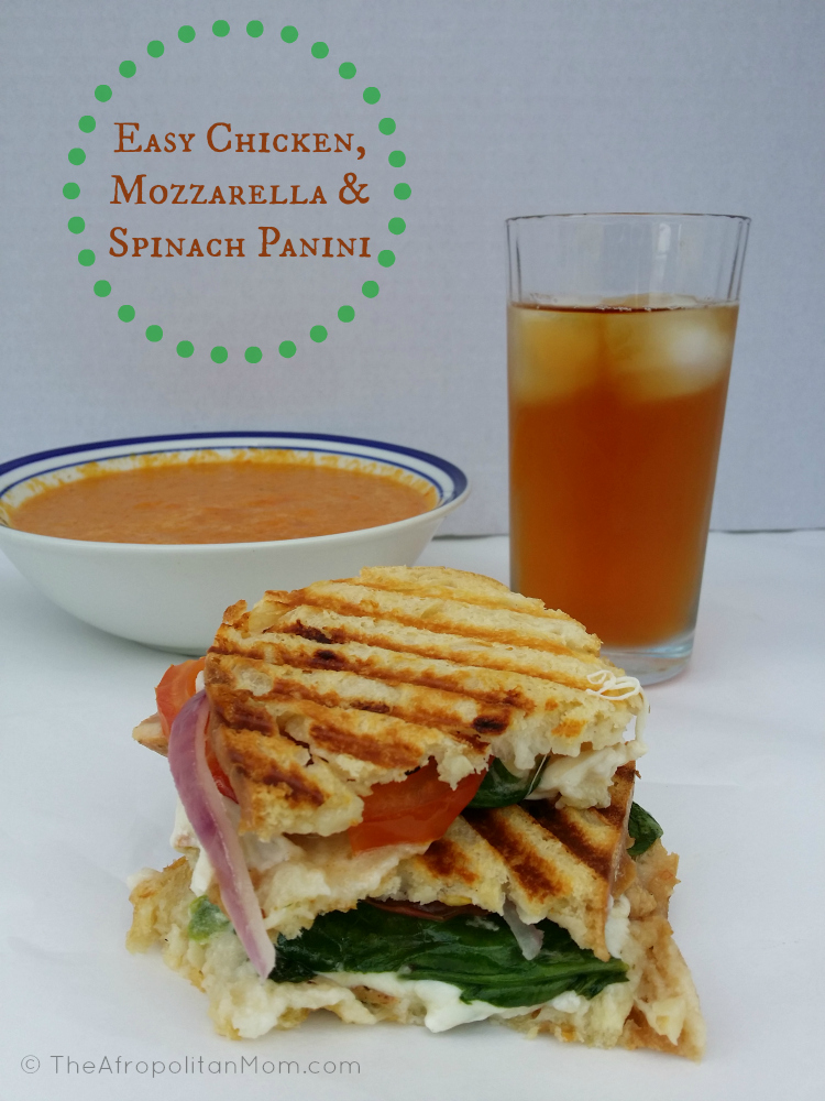 Chicken, Mozzarella and Spinach Panini #TEArifficPairs #shop #panini #sandwich #recipes #chicken