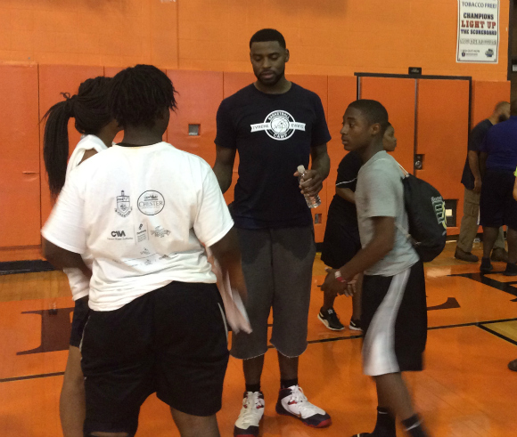 New Orleans Pelicans GuardForward Tyreke Evans hosts camp for kids in Chester, PA