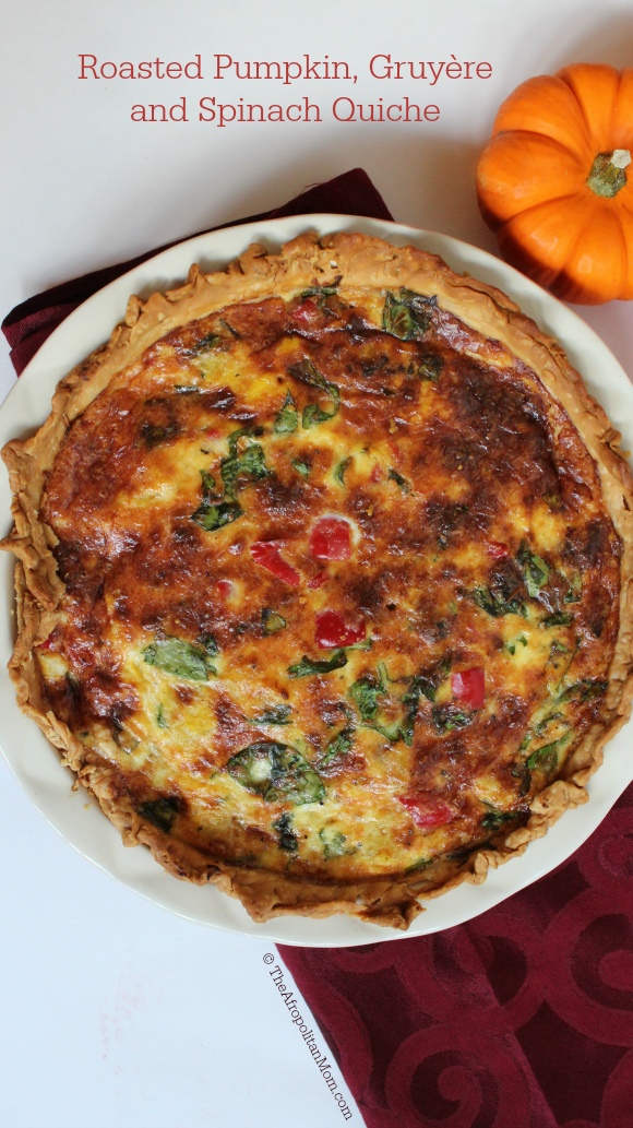Roasted Pumpkin, Gruyère and Spinach Quiche Recipe #Food4Fall