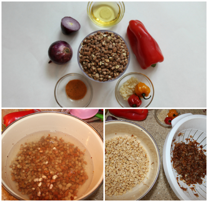 Beans Fritters – Akara - acaraje ingredients and prep work