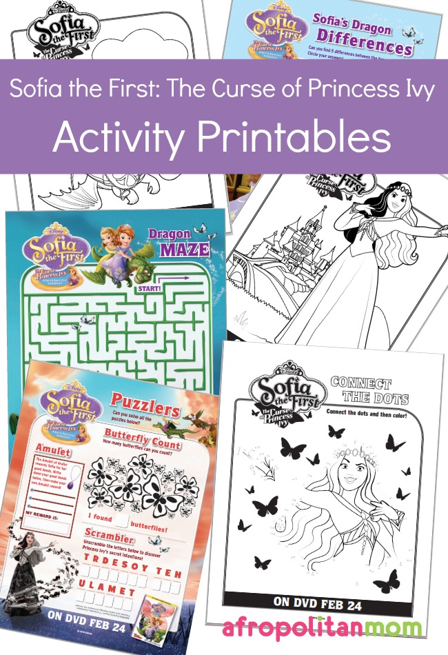 Sofia the First: The Curse of Princess Ivy Activity Printables for Kids