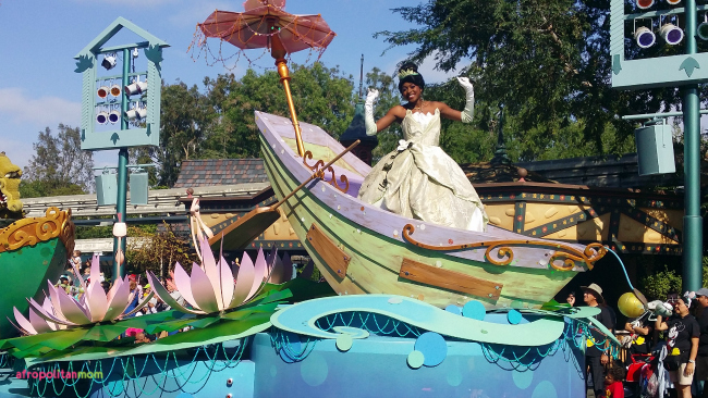 Princess Tiana at the Mickey's Soundsational Disneyland Parade