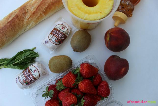 Summer Fruit and Goat Cheese Crostini-bruschetta
