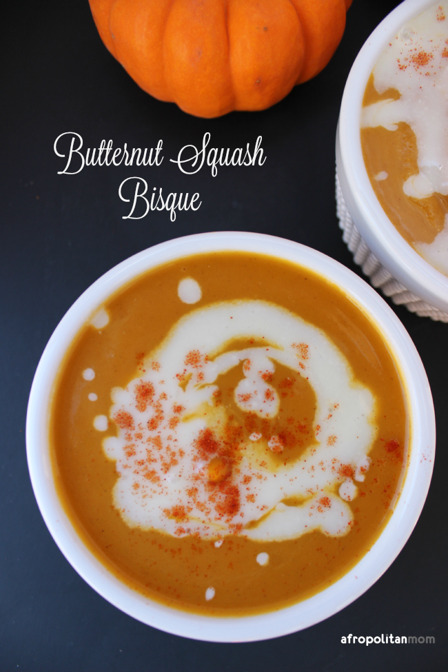 When the weather outside drops, I usually find myself enjoying a bowl of soup to keep warm. This Butternut Squash Bisque is no exception. It's creamy, delicious & 100% kid-approved.