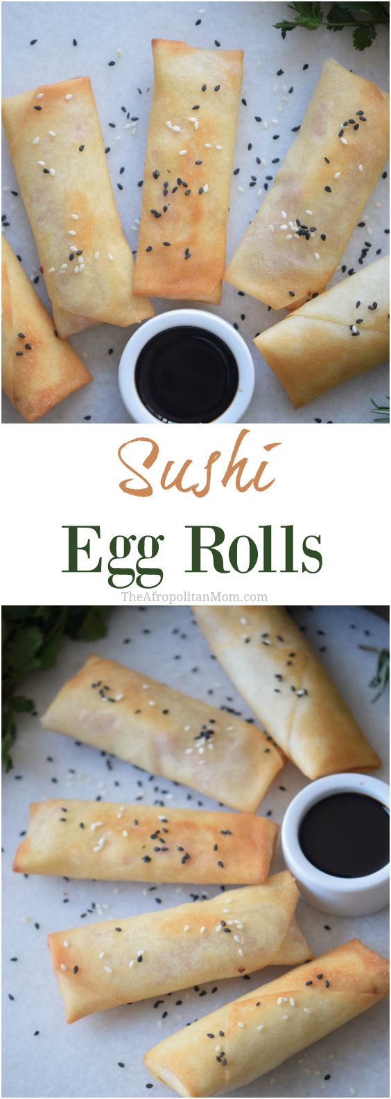 Homemade Sushi Egg Rolls an Easy finger food recipes for a crowd. Perfect for a family gathering or large parties. No more takeaways.
