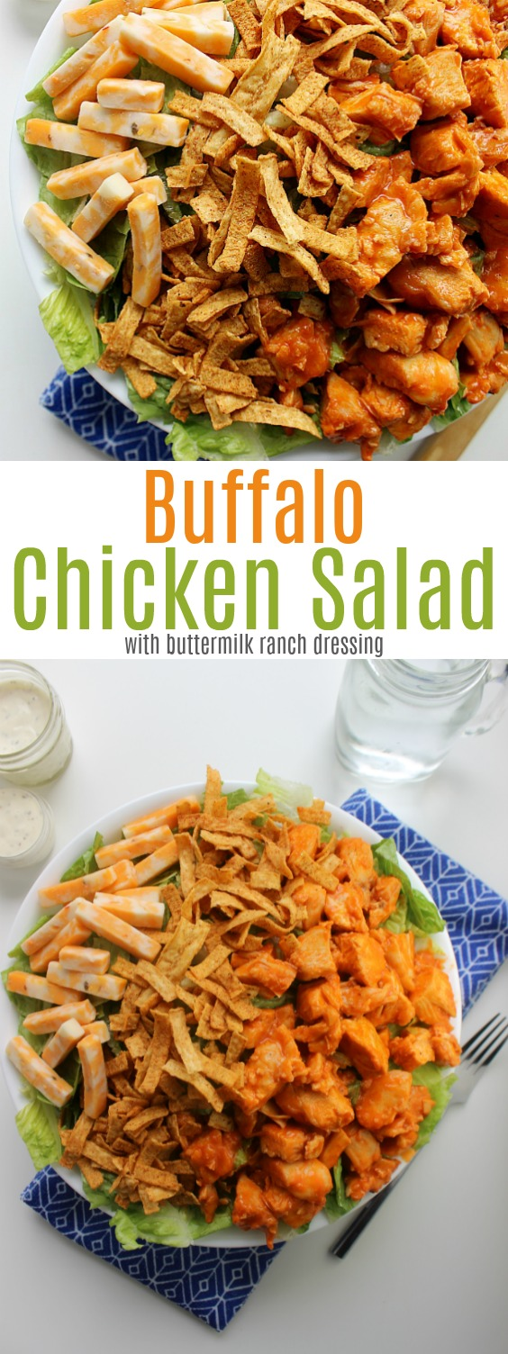 Buffalo Chicken Salad with buttermilk ranch dressing. Only 5 ingredients, it's fresher, healthier and far tastier than any restaurant salad at a fraction of the cost.