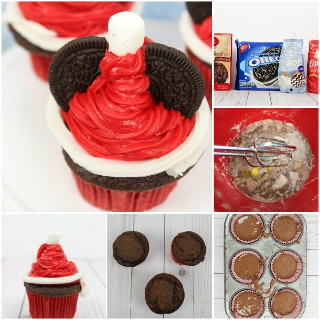 how to make Mickey Mouse Santa Hat Cupcakes