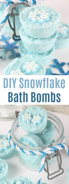 Easy DIY Snowflake Bath Bombs the perfect way to unwind after an exhausting week or a nice homemade gift for that special someone