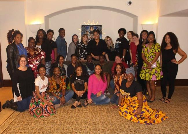 Blank Panther Press Group Shot with Lupita Nyong'o and Danai Gurira