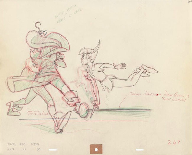 Peter Pan artwork in Disney Animation Research Library