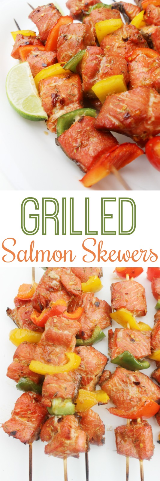 Grilled Salmon Skewers - incredibly delicious and easy kebabs. Marinated in apricot sauce and grilled to perfection. The marinade is also great with chicken and beef.