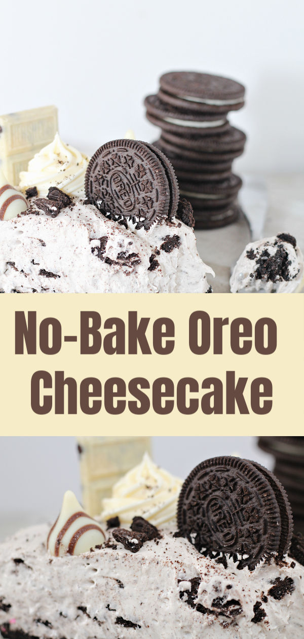 This No-BakeOreo Cheesecake is rich, decadent and a perfect treat for family gatherings. Sprinkled with oreo cookie crumbles, topped with chocolate kisses, and chocolate bars, this sweet treat is a great crowd pleaser!