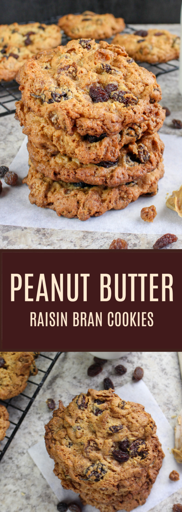 Peanut Butter Raisin Bran Cookies will become your favorite cookie recipe ever! It's an easy breakfast cookie recipe filled with peanut butter, raisins and raisin bran crunch cereal. If you've never had one, you MUST make these! OMG! Irresistible.