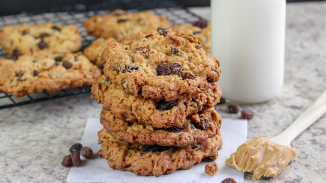 Peanut Butter Raisin Bran Cookies