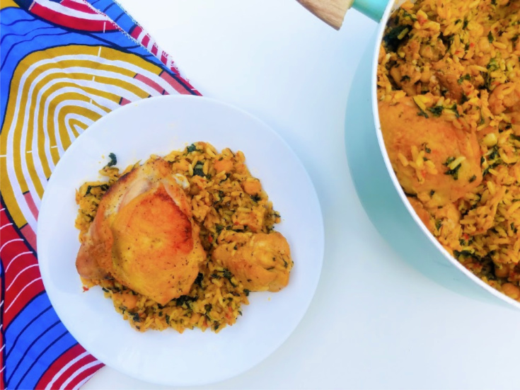 One-Pan Moroccan Chicken and Rice with Spinach