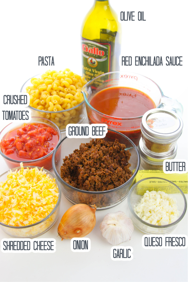 Beef Enchilada Pasta Bake Ingredient List