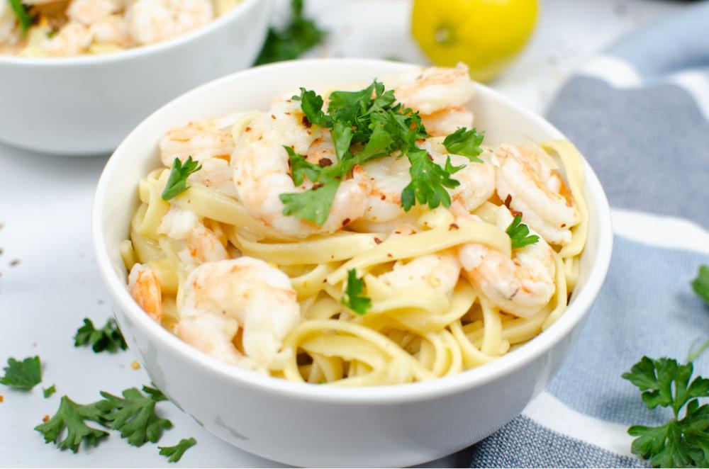Instant Pot Shrimp Scampi on a bed of Fettuccine Noodles