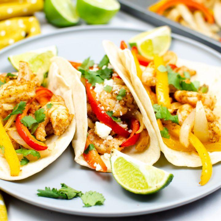 Easy Sheet Pan Shrimp Fajitas